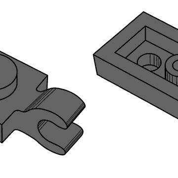 The Lego Dark Stone Grey Plate 2X1 W-Holder, Vertical by mecanolego