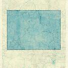 Wyoming State Map Blue Vintage by HubertRoguski