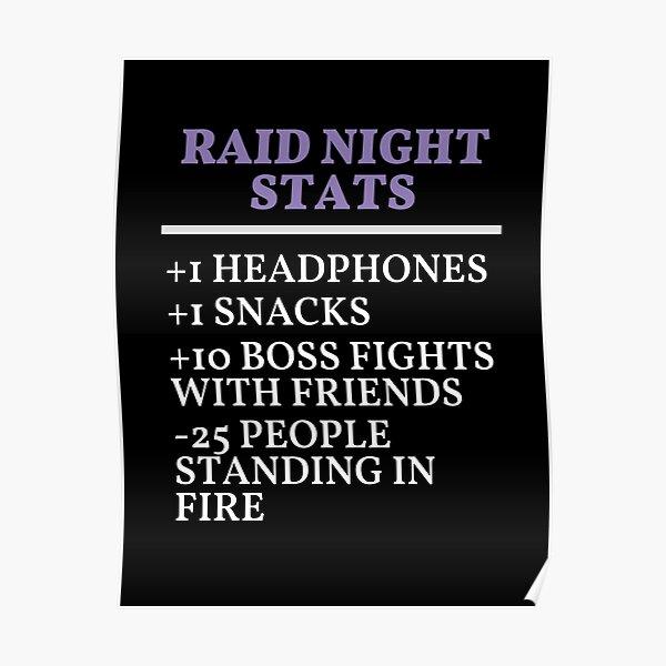 Raid Night Stats, MMO, Gaming Meme Poster
