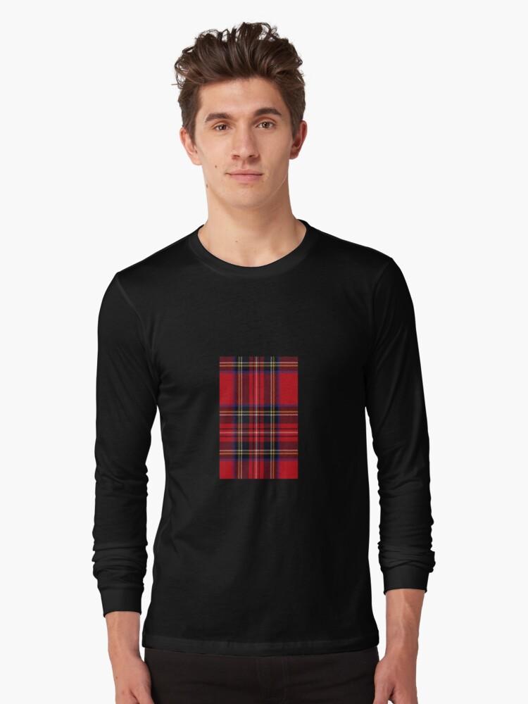 Red Tartan Fabric Design Long Sleeve T-Shirt Front