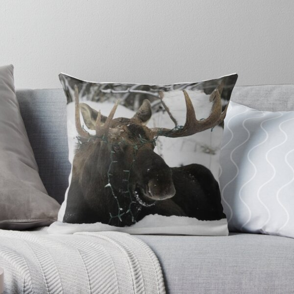 Bull Moose with Christmas Lights Tangled Throw Pillow