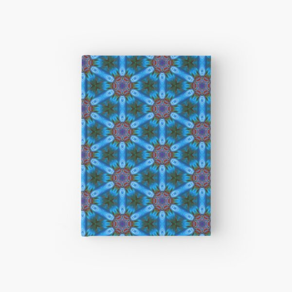 Pattern retro blue Hardcover Journal