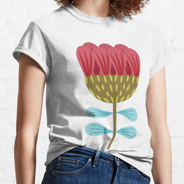 Red and turquoise Scandinavian flower pattern Classic T-Shirt