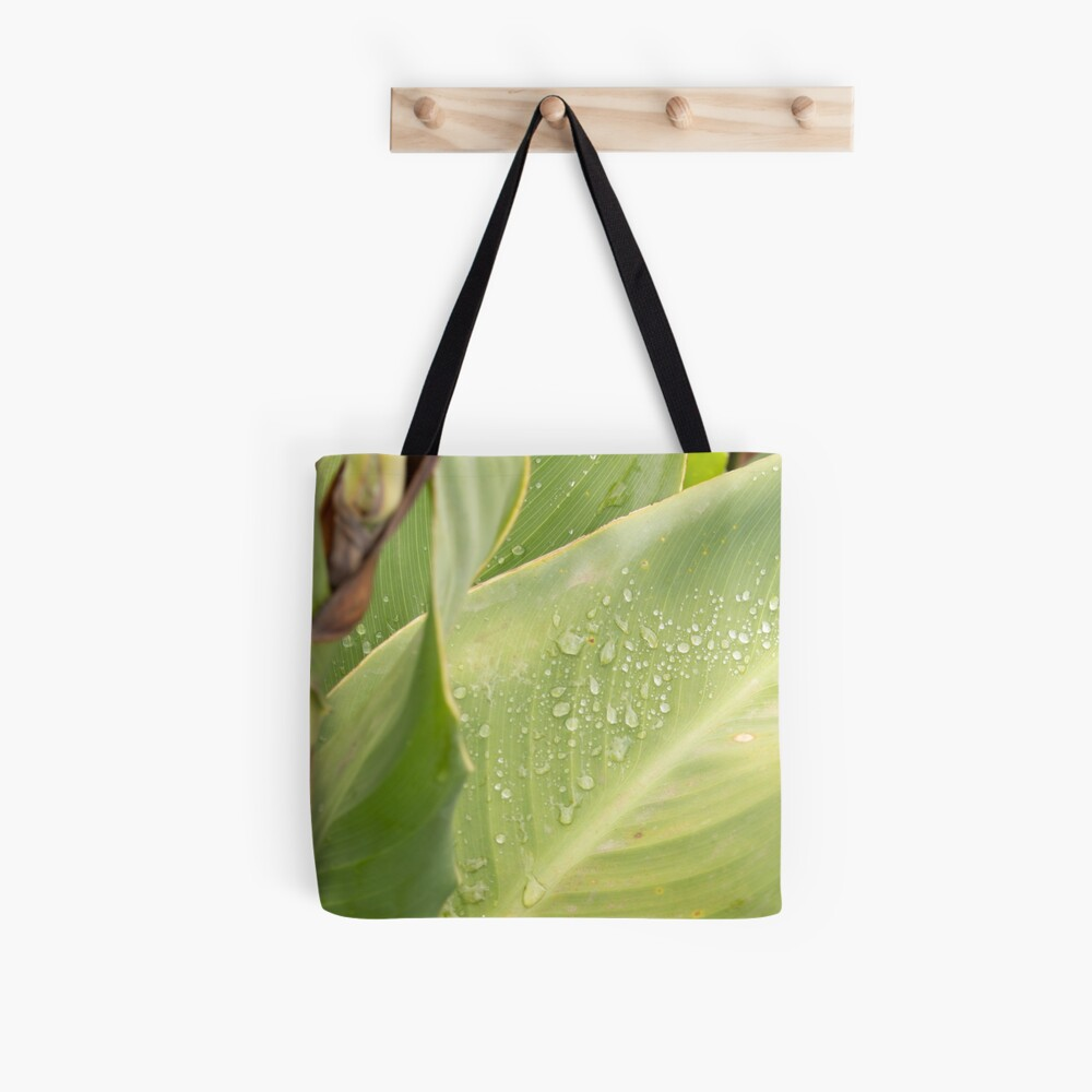 Green leaf after rain with water droplets, autumn. Fall colors, original photo Tote Bag
