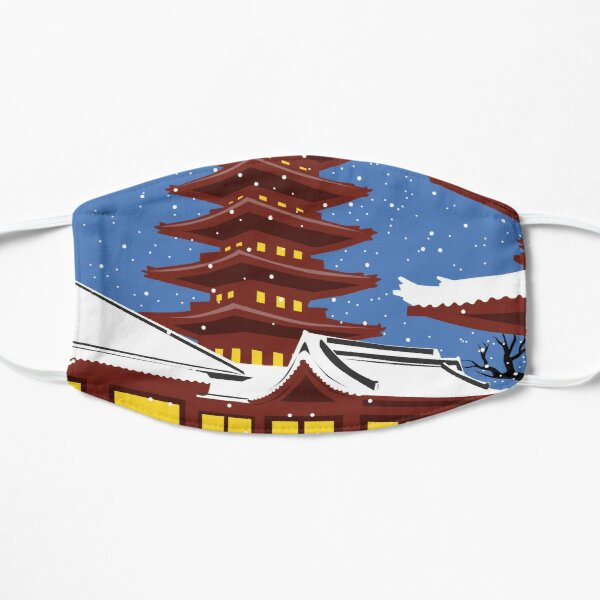 Vintage style Tokyo travel poster Flat Mask