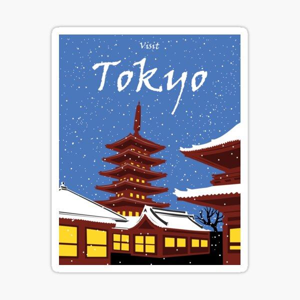 Vintage style Tokyo travel poster Sticker
