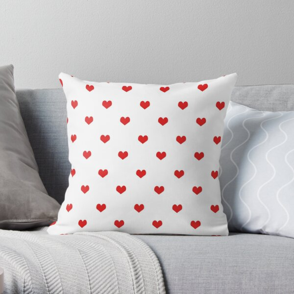 Heart white and red minimal valentines day gift for her cell phone case hearts Throw Pillow