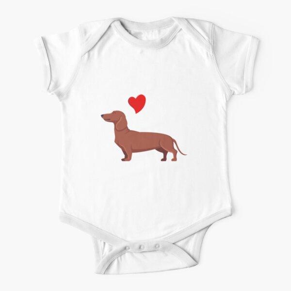 perro salchicha citas divertidas perro salchicha de dibujos animados Body de manga corta para bebé