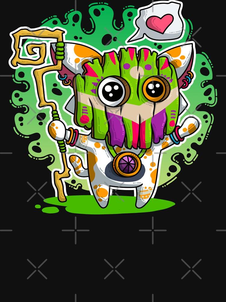 Kawaii Katze mit Voodoo-Maske und Zauberstab von brainbubbles