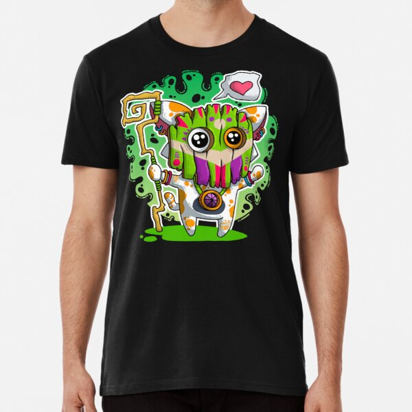 Kawaii Katze mit Voodoo-Maske und Zauberstab Premium T-Shirt