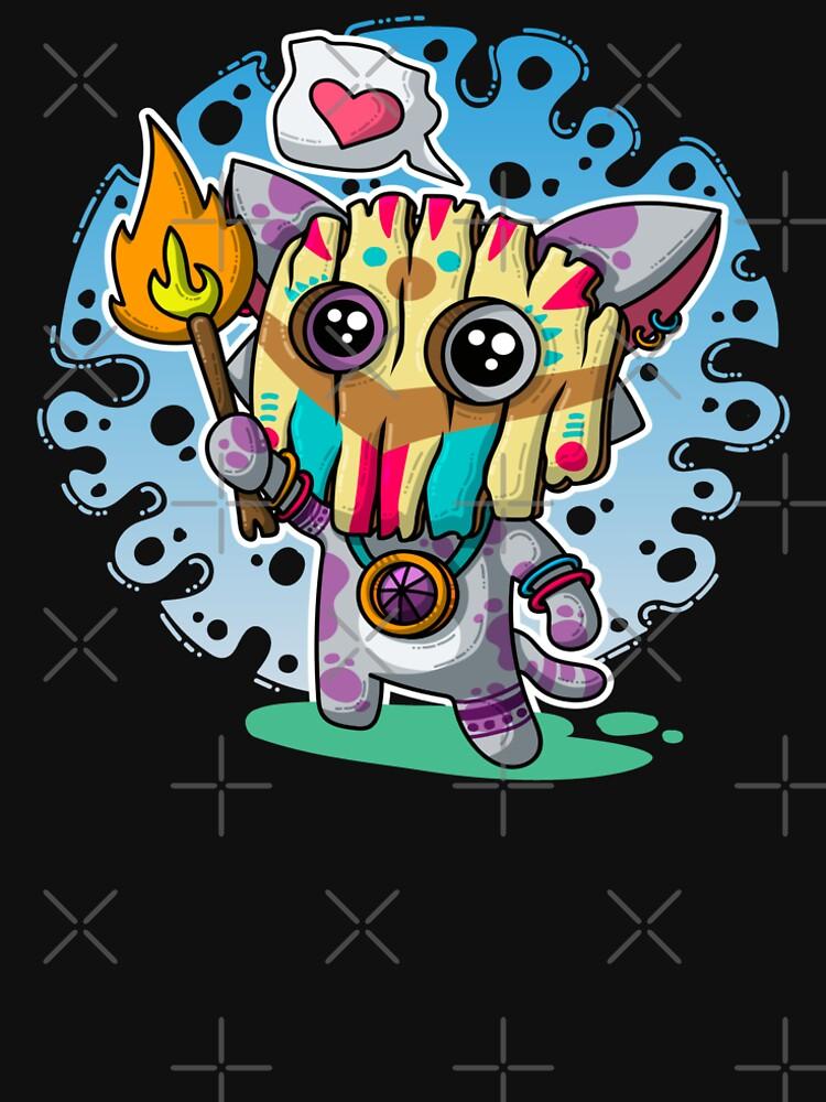 Kawaii Katze mit Voodoo-Maske und brennendem Zauberstab von brainbubbles