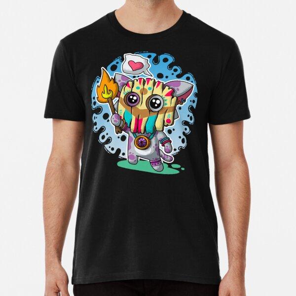 Kawaii Katze mit Voodoo-Maske und brennendem Zauberstab Premium T-Shirt