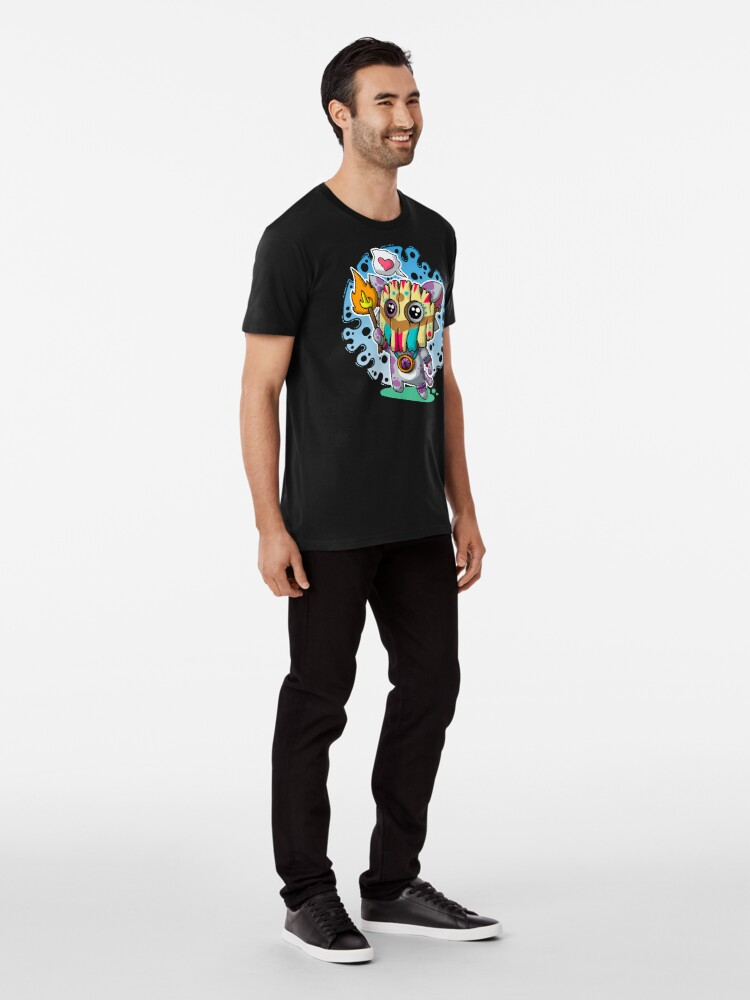 Alternative Ansicht von Kawaii Katze mit Voodoo-Maske und brennendem Zauberstab Premium T-Shirt