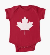 MAPLE LEAF, CANADA, CANADIAN, WHITE, Pure & Simple, Canadian Flag, National Flag of Canada, 'A Mari Usque Ad Mare', White on Red Kids Clothes
