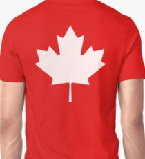 MAPLE LEAF, CANADA, CANADIAN, WHITE, Pure & Simple, Canadian Flag, National Flag of Canada, 'A Mari Usque Ad Mare', White on Red Unisex T-Shirt