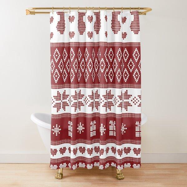 Red Winter Nordic Snowflake Deer Christmas Pattern Shower Curtain