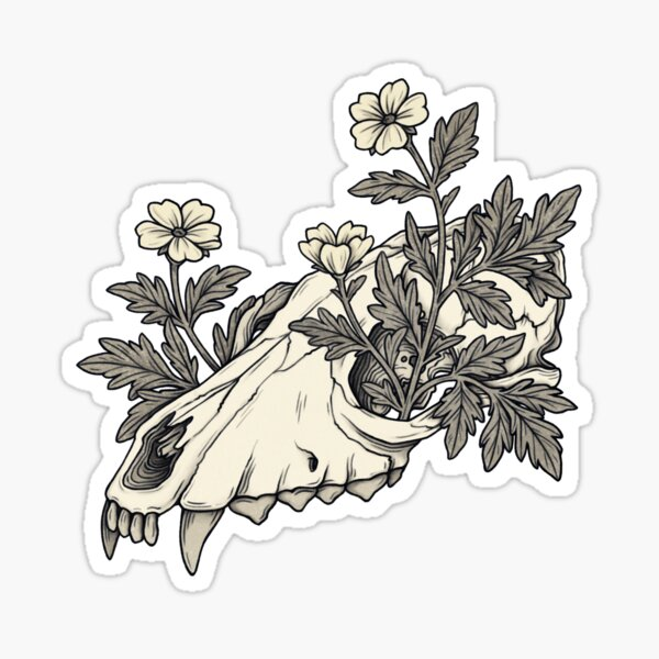 Canine Skull with Flowers Sticker