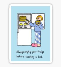 Empty fridge before a diet. Sticker