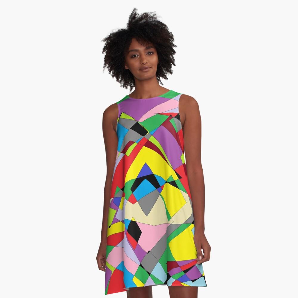 Colorful World of Sharp Corners A-Line Dress
