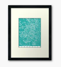 Jerusalem map turquoise Framed Print
