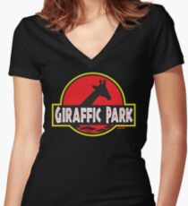 Giraffic Park Women's Fitted V-Neck T-Shirt