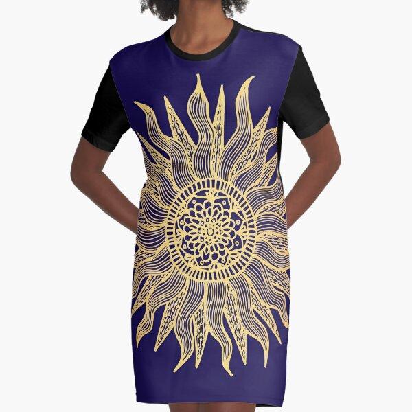 Blue and Gold Sun Mandala Graphic T-Shirt Dress