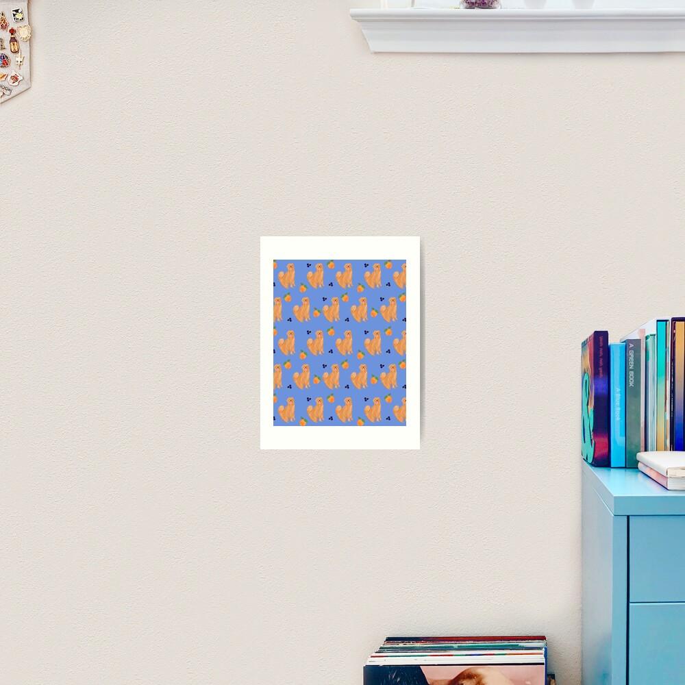 Golden Retriever and fruits Art Print