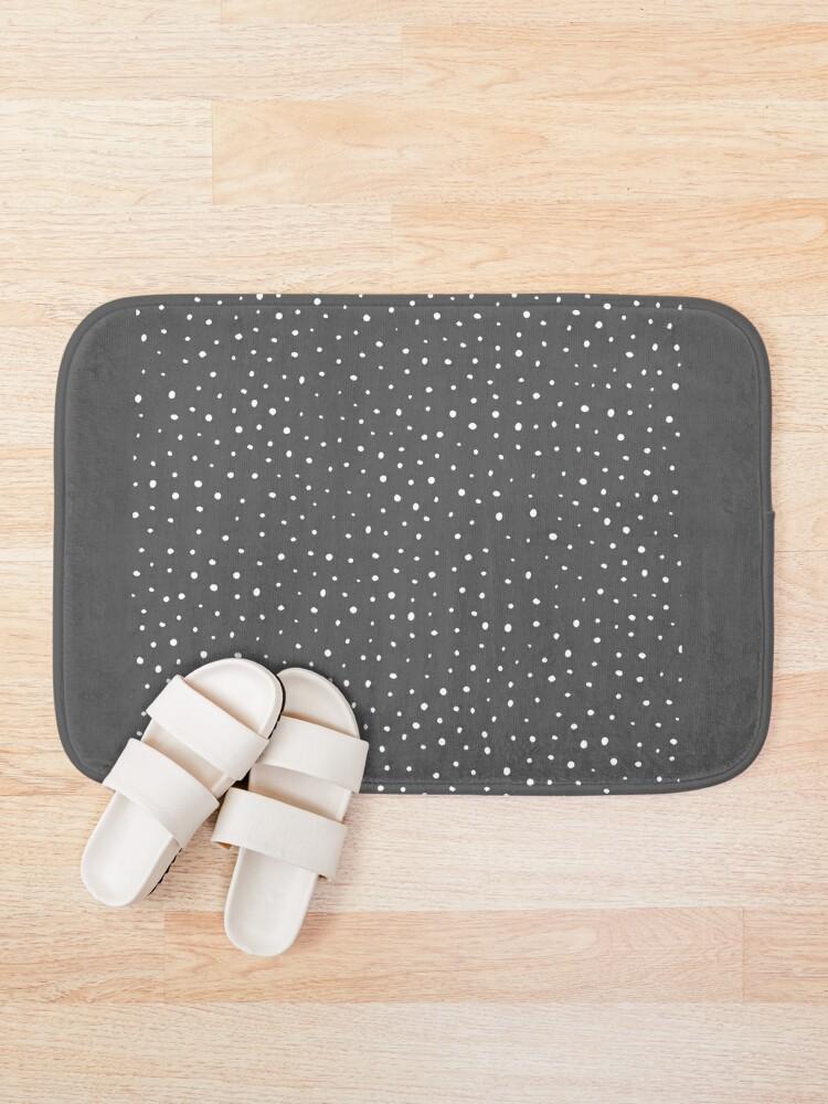 Alternate view of Dark gray & white polka dot pattern Bath Mat