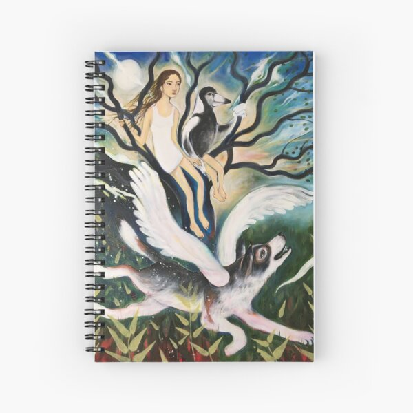 girl and magpie Spiral Notebook
