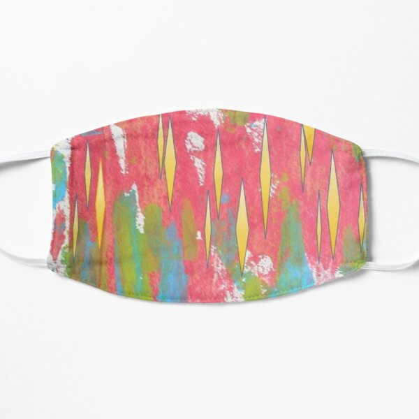 Red and Turquoise Floral Abstract Acrylic Painting Mask
