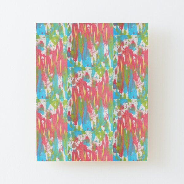 Red and Turquoise Floral Abstract Acrylic Painting Wood Mounted Print
