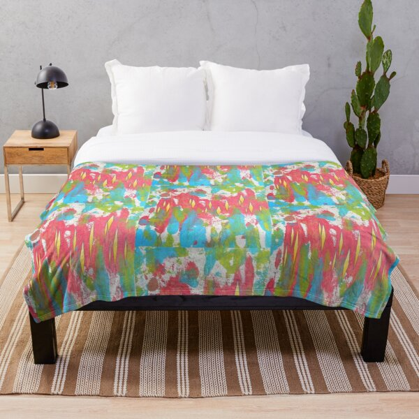 Red and Turquoise Floral Abstract Acrylic Painting Throw Blanket