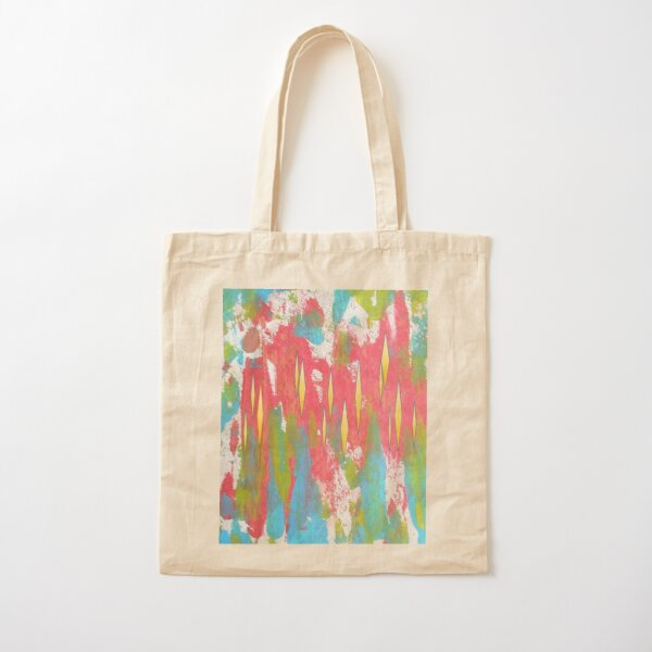 Red and Turquoise Floral Abstract Acrylic Painting Cotton Tote Bag