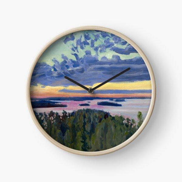 View Over a Lake at Sunset - Akseli Gallen-Kallela - 1907 Clock