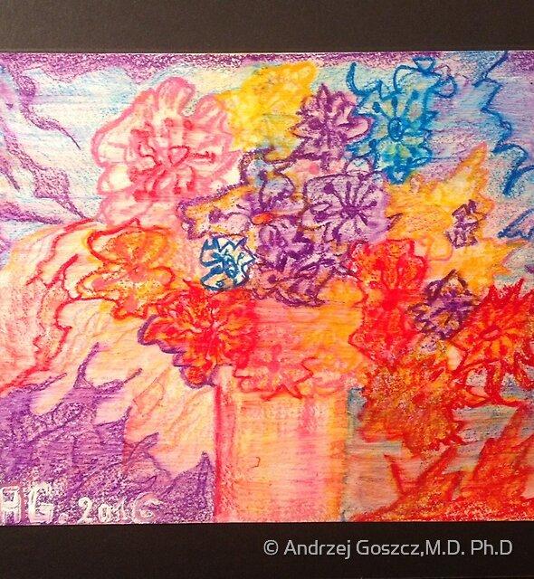 Flowers for You My Darling. Drawing by Andrzej Goszcz. by © Andrzej Goszcz,M.D. Ph.D