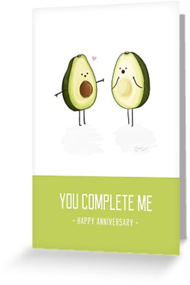 avocados you complete me happy anniversary card by nerdcat - Happy Anniversary Cards