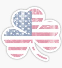 Irish American Flag Shamrock Sticker
