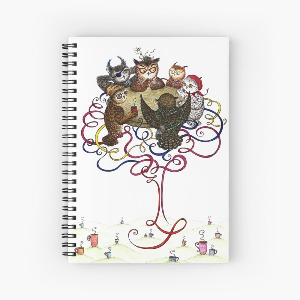 Art-School Owl Assembly Spiral Notebook