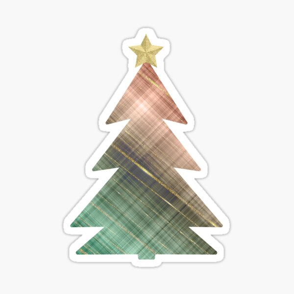 Plaid Peach and Green Blend Christmas Tree with Glitter Gold Star Sticker