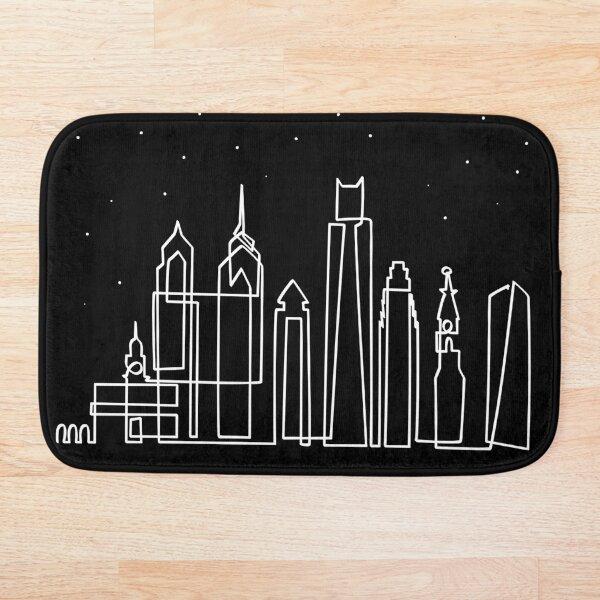 Skyline de Philadelphia de noche Alfombra de baño