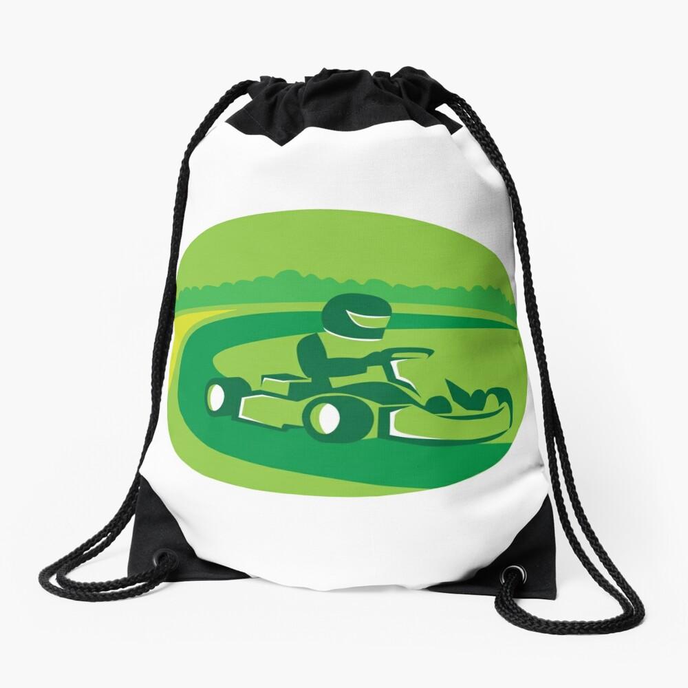 Go Kart Racing Oval Retro Drawstring Bag