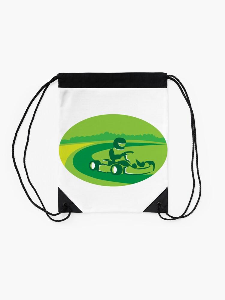 Alternate view of Go Kart Racing Oval Retro Drawstring Bag