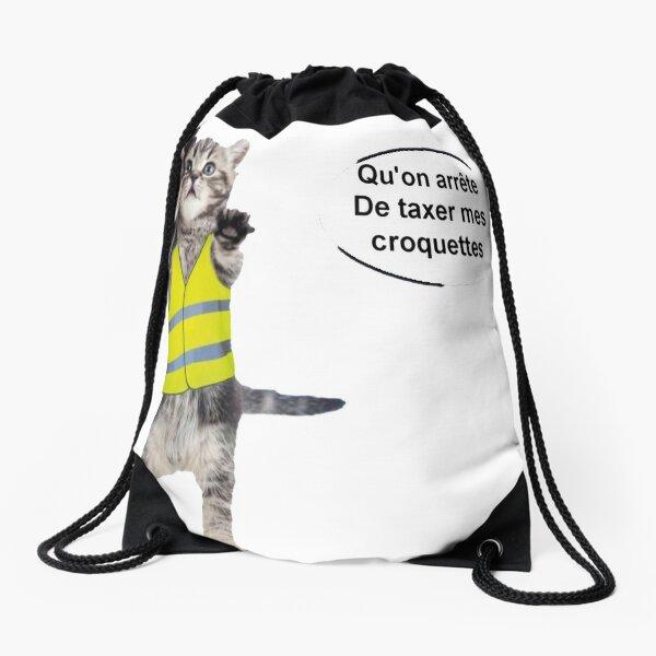 cat yellow vest Drawstring Bag