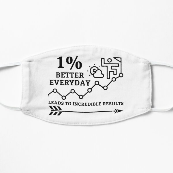 1% better everyday - growth and success self Improvement Flat Mask