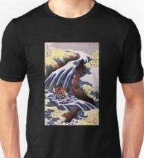 'Waterfall and Horse Washing' by Katsushika Hokusai (Reproduction) Unisex T-Shirt