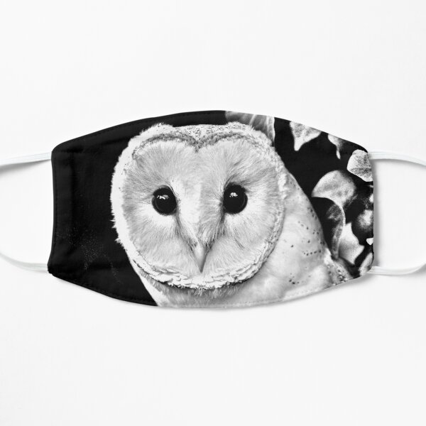 Barn Owl in Black and White Flat Mask