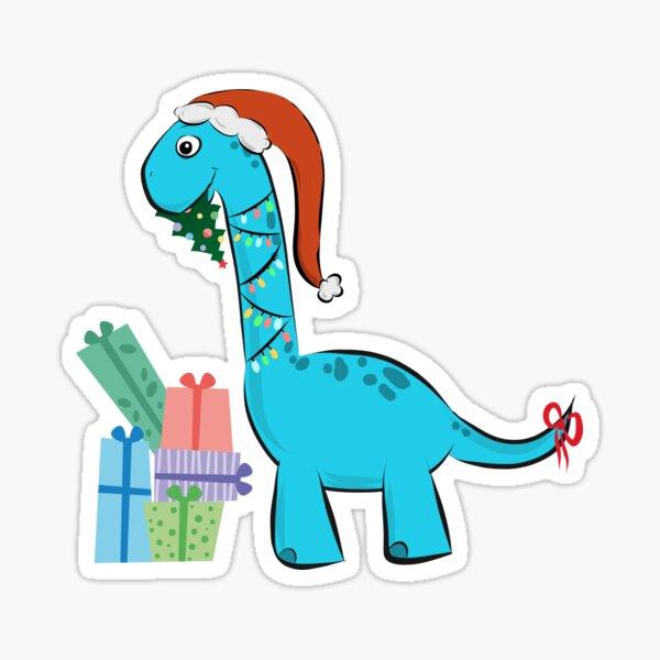 süßer Langhals Dino Dinosaurier Saurier feiert Weihnachten comic Sticker