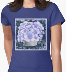 Basket With Blue Flowers Women's Fitted T-Shirt