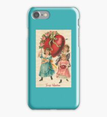 Red Heart Three School Girl Victorian Duvet Scarf Love Old Fashioned Style iPhone Case/Skin