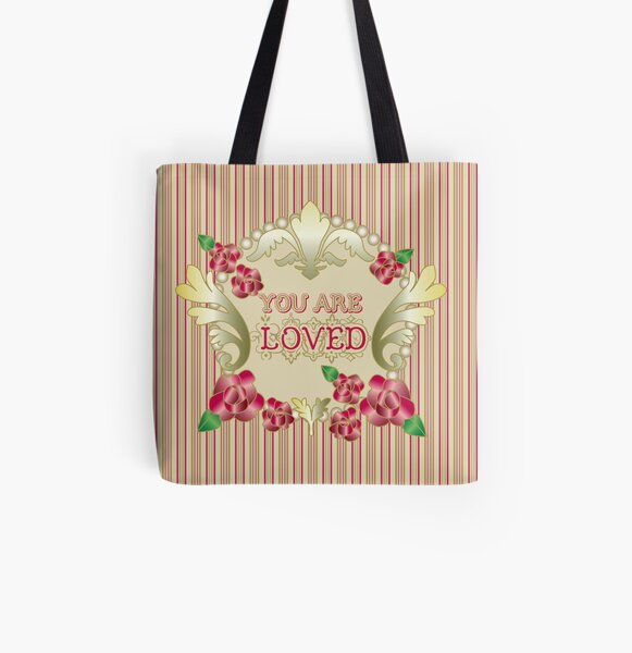 You Are Loved Red Roses Gold Ornaments Pearls Stripes All Over Print Tote Bag